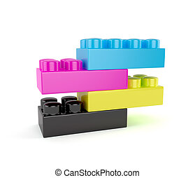 Plastic cmyk toy blocks