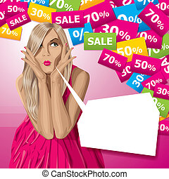 Vector Surprised Blonde in Pink Dress - Sale concept Vector...