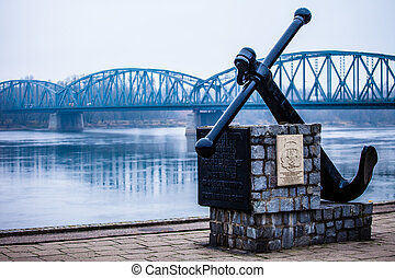 Poland - Torun famous truss bridge over Vistula river....