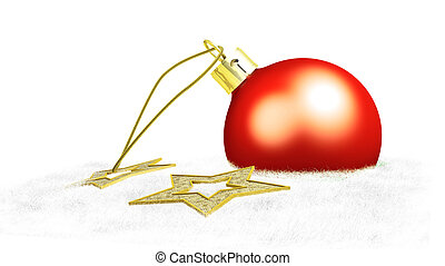 One red christmas ball and two yellow stars put on cotton