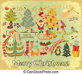 Retro Merry Christmas Card with Santa Claus, Christmas Tree...