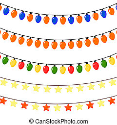 Set of Christmas garlands of stars and lanterns