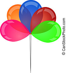 Set of colored transparent rubber balloons