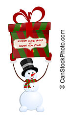Christmas snowman with gift on white background