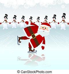 Santa Claus, ice skating