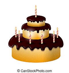 Celebratory chocolate cake with burning candles