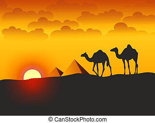 Camels and Pyramids - Illustration - Camels and Pyramids -...