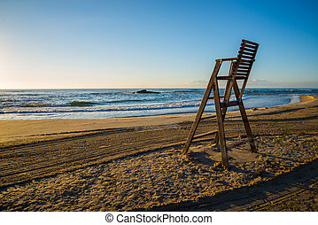 lifeguard chair on empty beach