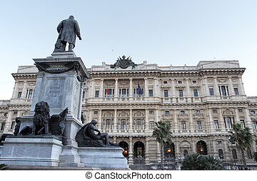 Justice Palace and Cavour monument in Rome - Piazza Cavour...