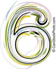 Organic Font illustration. Number 6