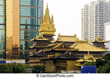 Jing An Temple general view in Shanghai, China