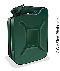 petrol can - illustration of a green petrol can with safety...