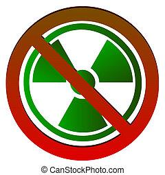 símbolo, radioactivo,  no