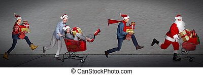 Happy people running with xmas gifts. Christmas sale.