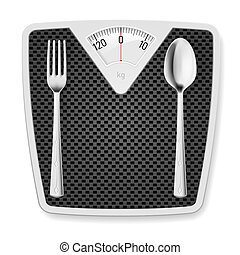 Bathroom scales with fork and spoon. - Bathroom scales with...