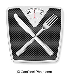 Bathroom scales with fork and knife. - Bathroom scales with...