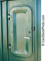 Water tight door - green Water tight door on a ship