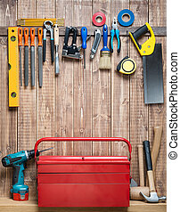 Woodwork - Carpentry tools hanging on the wall.