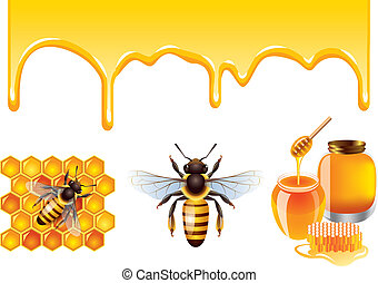 Honey, bee, honeycells vector set - Honey streams, jars,...