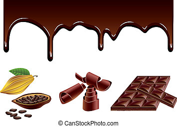 Chocolate and cacao vector set - Chocolate streams, curls,...