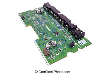 electronic circuit board with processor on a white...