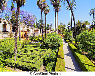 Gardens in Alcazar of Seville, Spain - Gardens in Reales...