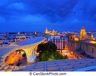 Cityscape and the Cathedral of Seville, Spain - Cityscape of...