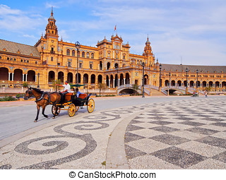 Plaza de Espana in Seville, Spain - Carriage on Plaza de...