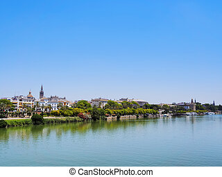 Guadalquivir River in Seville - View of Guadalquivir River...