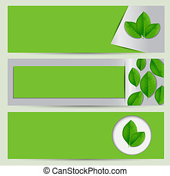Green eco banner set with leaves