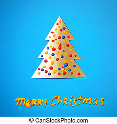 Merry Christmas - Paper Christmas tree and wishes