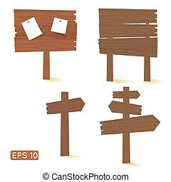 set, scuro, legno, segni, tabelloni