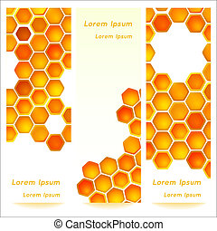 Vertical banners with honeycomb cells background for your...