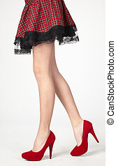 Womans Legs in Skirt and Heels - Womans Legs in High Heels...