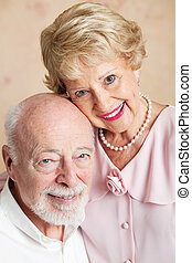 Portrait of Senior Husband and Wife - Closeup portrait of a...