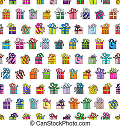 Presents - Seamless pattern made of illustrated presents in...