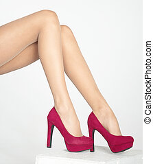 Pantyhose and Red Heels - Womans Legs in Pantyhose and Red...