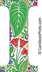 Floral I - Colorful floral initial capital letter I