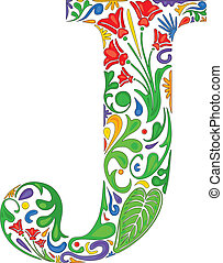Floral J - Colorful floral initial capital letter J