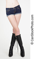Woman's Legs in High Heeled Boots