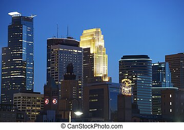 Minneapolis at Night Downtown Minneapolis, Minnesota, USA...