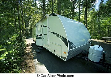 Travel Trailer in RV Park Recreation Vehicle in the Cascades...