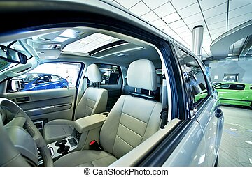 Cars Dealer Showroom Small SUV. Wide Angle Photo. Car...