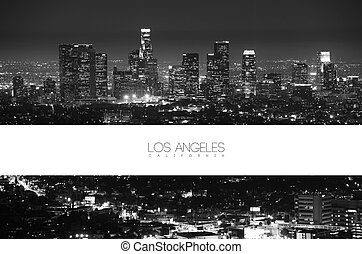 Los Angeles Black and White at Night - Panorama Postcard...