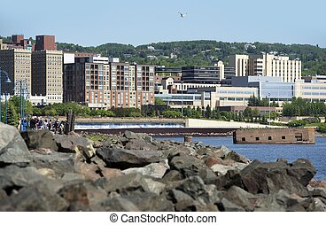 City of Duluth in Northern Minnesota, USA. Duluth Cityscape...