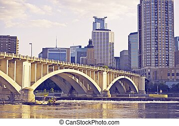 Downtown Minneapolis, Minnesota, USA. Ultraviolet Color...