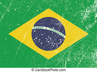 Brazil Flag Vintage - Vector illustration of a vintage...