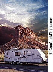 RV in Canyonlands, Utah, USA. Recreation Vehicle - Travel...