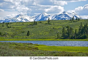 Northern Yellowstone Landscape. Gallatin Mountains Range....