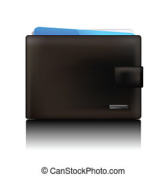 wallet - business black leather mens wallet with Bank cards